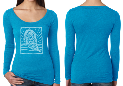 Front and back photo of woman's long-sleeve shirt