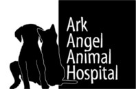 Ark Angel Animal Hospital logo - outlines of dog and cat as friends