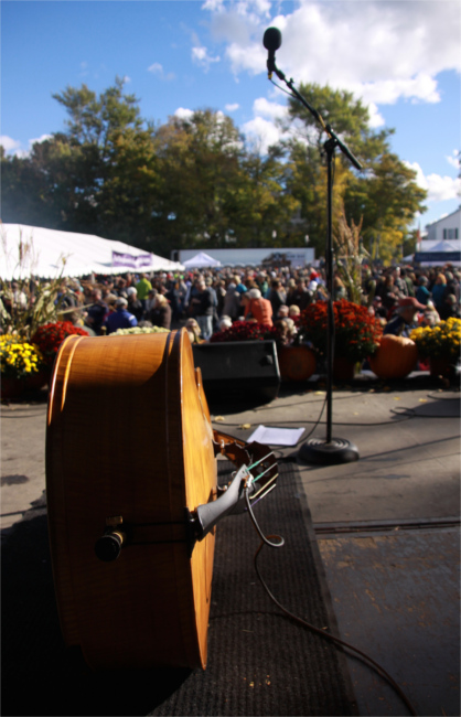 Bass Guitar Waiting on Stage for Band to Arrive at OysterFest