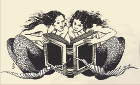Wellfleet Public Library logo, mermaids reading a book